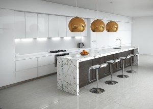 Contemporary minimal white kitchen with marble and wood details